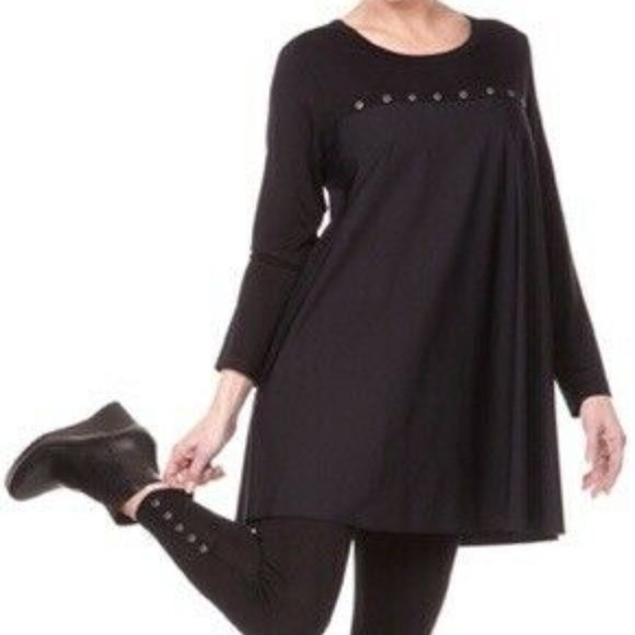 Jason USA Size MEDIUM Black Gray Oversized Tunic